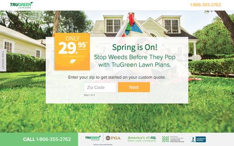 Screenshot of Landing Page trugreen.com - TruGreen. Live Life outside. - captured April 5, 2017