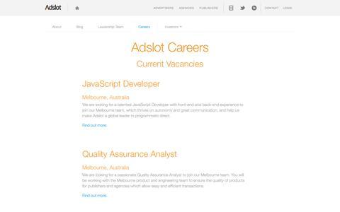 Screenshot of Jobs Page adslot.com - Careers at Adslot - Your new career starts here | Adslot - captured Sept. 19, 2014