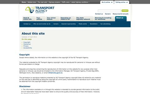 Screenshot of Privacy Page nzta.govt.nz - About this site | NZ Transport Agency - captured Sept. 19, 2014