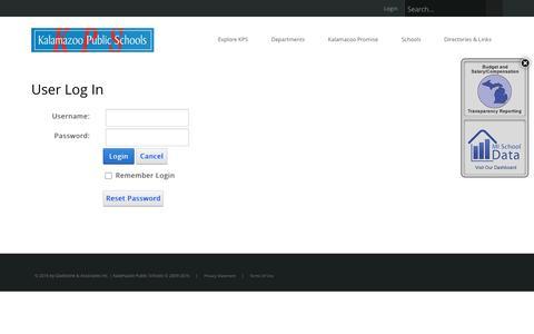 Screenshot of Login Page kalamazoopublicschools.com - User Log In - captured Nov. 27, 2016