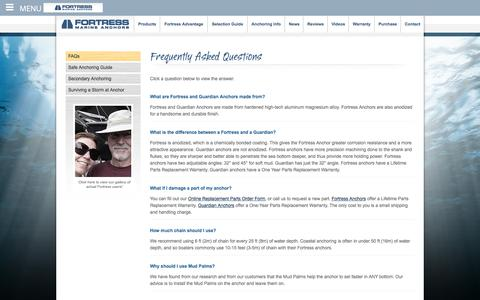 Screenshot of FAQ Page fortressanchors.com - Boat Anchor Guide  - The World's Best Anchors! - captured June 6, 2017