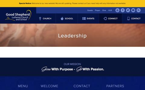 Screenshot of Team Page goodshep.com - Leadership | Good Shepherd Lutheran Church | Burnsville, MN - captured Jan. 31, 2016