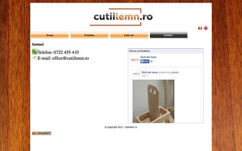 Screenshot of Contact Page cutiilemn.ro - Cutiilemn.ro - Cutii din lemn si obiecte din lemn - captured Sept. 30, 2014