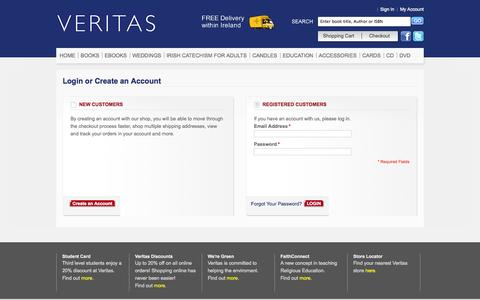 Screenshot of Login Page veritasbooksonline.com - Customer Login Veritas Publications - captured Oct. 7, 2014