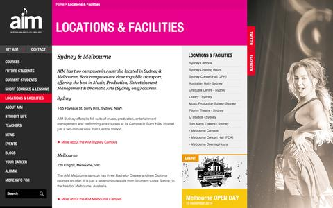 Screenshot of Locations Page aim.edu.au - AIM Music School & Music Courses | Australian Institute of Music Sydney - captured Sept. 25, 2014