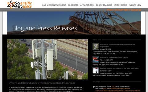 Screenshot of Press Page sci.aero - IN THE MEDIA - ScientificAerospace - captured Feb. 2, 2016