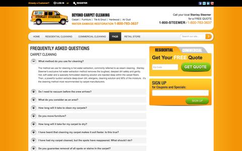 Screenshot of FAQ Page stanleysteemer.com - Frequently Asked Questions - captured Sept. 24, 2014
