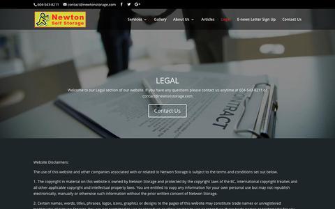 Screenshot of Terms Page newtonstorage.com - Legal | Newton Storage - captured Nov. 7, 2018