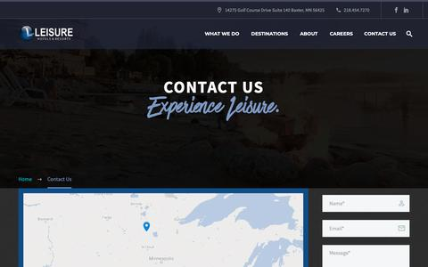 Screenshot of Contact Page leisurehotel.com - Contact Us - Leisure Hotels & Resorts - captured Sept. 28, 2018