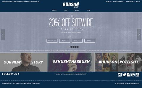 Screenshot of Home Page hudsonjeans.com - Hudson Jeans Official Site - captured Sept. 23, 2014