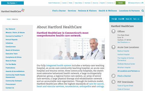 Screenshot of About Page hartfordhealthcare.org - About Hartford HealthCare   Hartford HealthCare - captured Jan. 13, 2018