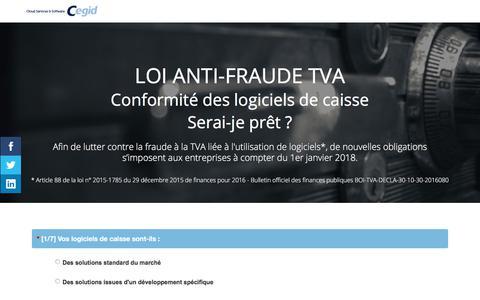 Screenshot of Landing Page cegid.com - Quiz Loi anti-fraude TVA - Conformité des logiciels de caisse - captured Oct. 4, 2017