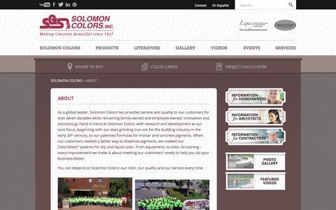 Screenshot of About Page solomoncolors.com - Dry and Liquid Color Pigments for Concrete and Mortar | Solomon Colors, Inc. - captured Jan. 13, 2016