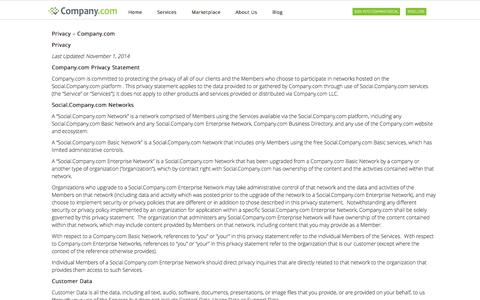 Screenshot of Privacy Page company.com - Company.com  | Privacy Policy - captured Nov. 14, 2015