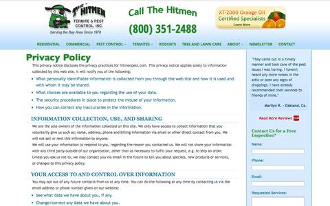 Screenshot of Privacy Page hitmenpest.com - Residential Pest Control Experts | The Hitmen Termite & Pest Control - captured Nov. 2, 2014