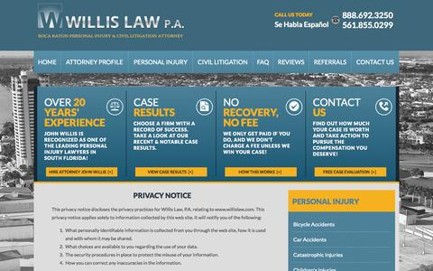 Screenshot of Privacy Page willislaw.com - Privacy Policy | Willis Law, P.A. - captured Oct. 7, 2014