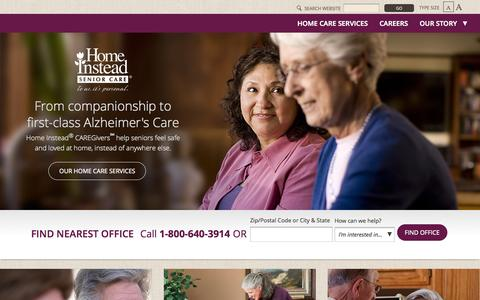 Screenshot of Home Page homeinstead.com - Home Instead Senior Care   In Home Elderly Care   Senior Home Care Services - captured Jan. 26, 2015