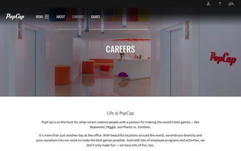 Screenshot of Jobs Page ea.com - Careers - PopCap Studios - Official EA Site - captured Oct. 6, 2019
