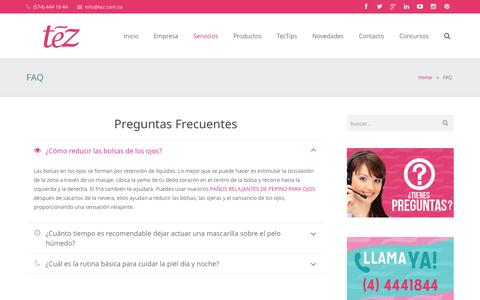 Screenshot of FAQ Page tez.com.co - TezFAQ - Tez - captured Oct. 26, 2014