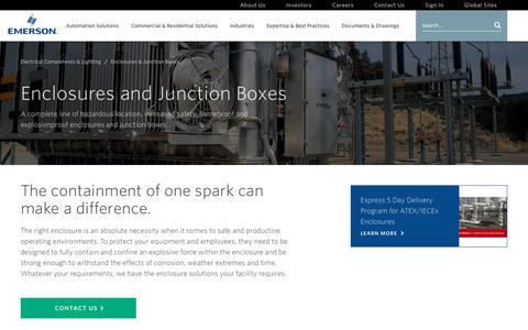 Screenshot of emerson.com - Enclosures and Junction Boxes | Emerson - captured Oct. 23, 2016