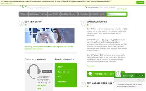 Screenshot of Home Page diatheva.com - DIATHEVA - Biomanufacturing of innovative diagnostics and reagents - Home - captured Feb. 9, 2016
