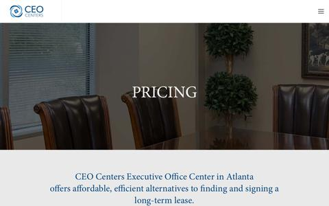 Screenshot of Pricing Page ceocenters.com - CEO Centers | Executive Office Center in Atlanta | Plans & Pricing - captured Sept. 25, 2018