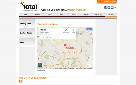 Screenshot of Maps & Directions Page total-ltd.co.uk - Contact Us: Map - captured Oct. 7, 2014