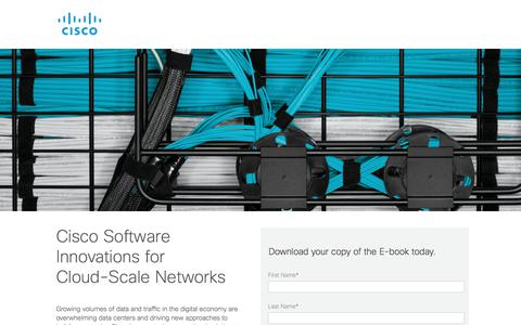Screenshot of Landing Page cisco.com - Cisco Software Innovations for Cloud-Scale Networks - captured Sept. 13, 2017