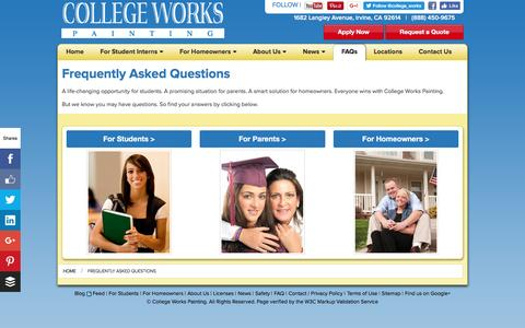 Screenshot of FAQ Page collegeworks.com - Frequently Asked Questions About College Works Painting | CollegeWorks.com - captured Nov. 9, 2016