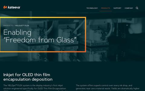 Screenshot of Products Page kateeva.com - YIELDjet™ FLEX - Kateeva - captured June 9, 2017