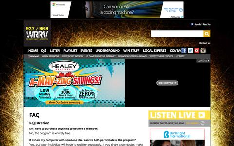 Screenshot of FAQ Page wrrv.com - 92.7 96.9 WRRV Radio – The Hudson Valley's New Rock Alternative – Poughkeepsie Rock Radio - captured May 23, 2016