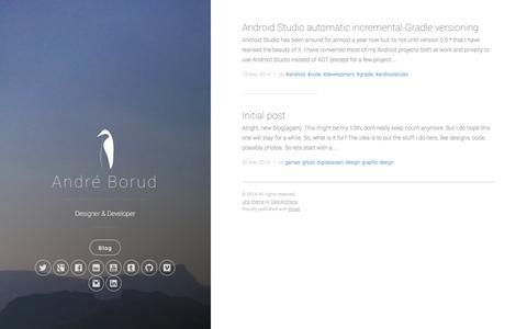 Screenshot of Home Page Blog andreborud.com - André Borud - captured Oct. 4, 2014