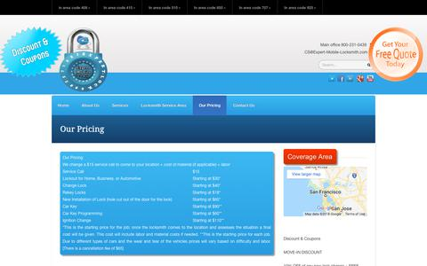 Screenshot of Pricing Page expert-mobile-locksmith.com - Our Pricing - Expert Mobile Locksmith | 800-231-0439 | Expert Mobile Locksmith | 800-231-0439 - captured July 13, 2018
