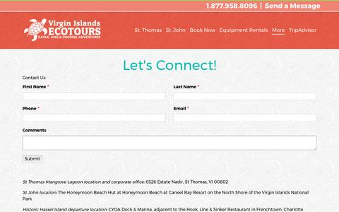 Screenshot of Contact Page viecotours.com - Contact Virgin Islands EcoTours | Kayak, Hike, & Snorkel Tours - captured Oct. 21, 2017
