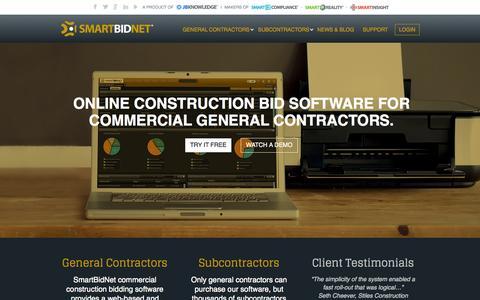Screenshot of Home Page smartbidnet.com - SmartBidNet Commercial Construction Bidding Software - SmartBidNet - captured Sept. 19, 2014