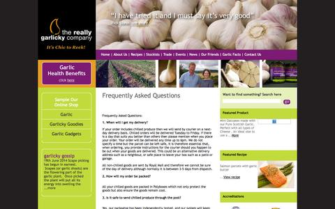 Screenshot of FAQ Page reallygarlicky.co.uk - FAQ, Frequently Asked Questions for The Really Garlicky Company, Nairn Tel 01667 452193 - captured Oct. 7, 2014