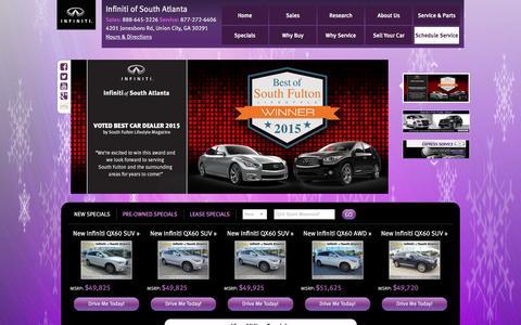Screenshot of Home Page infinitiofsouthatlanta.com - Atlanta Infiniti | Highest Rated Infiniti Dealer | Infiniti South Atlanta - captured Jan. 8, 2016