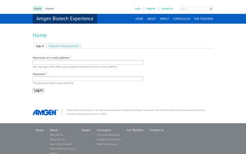 Screenshot of Login Page amgenbiotechexperience.com - Home | Amgen Biotech Experience - captured Sept. 13, 2014