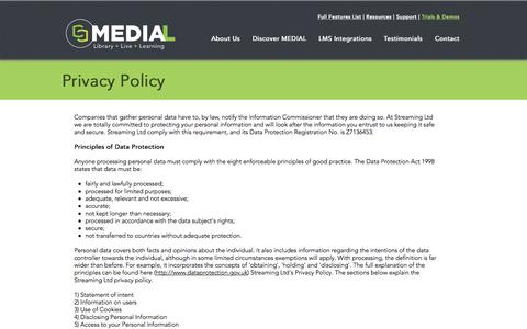 Screenshot of Privacy Page medial.com - MEDIAL | Privacy Policy - captured Oct. 5, 2017