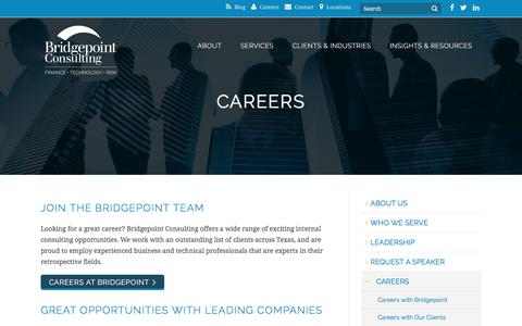 Screenshot of Jobs Page bridgepointconsulting.com - Careers - Bridgepoint Consulting - captured Oct. 11, 2017