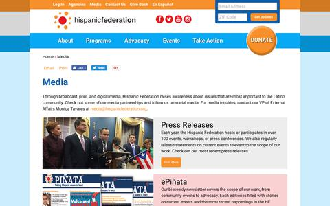 Screenshot of Press Page hispanicfederation.org - Hispanic Federation: Media - captured July 20, 2018