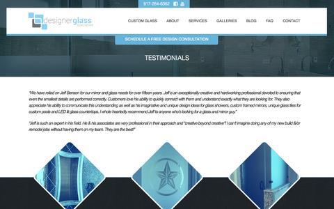 Screenshot of Testimonials Page designerglass.tv - Testimonials - captured Nov. 3, 2014