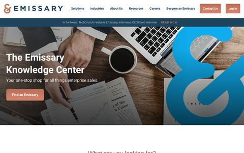 Screenshot of Press Page emissary.io - Resources · Emissary | Complex sales require uncommon insights - captured June 8, 2018