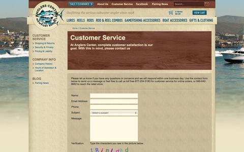 Screenshot of Support Page anglerscenter.com - Customer Service - captured April 9, 2017