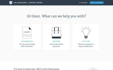 Screenshot of Support Page chartbeat.com - Support Center - captured July 15, 2015