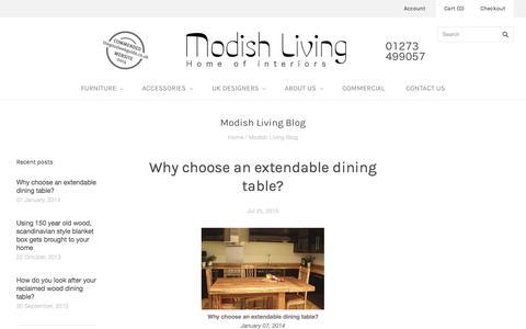 Screenshot of Blog modishliving.co.uk - Modish Living Blog | Scandinavian furniture | Reclaimed wood furniture - captured Sept. 21, 2015