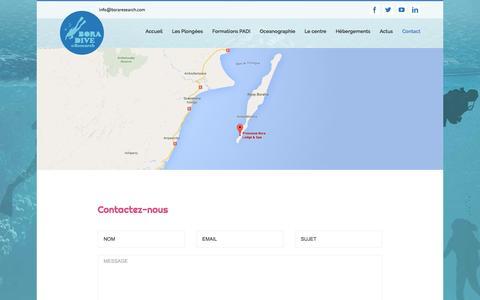 Screenshot of Contact Page boraresearch.com - Contact Bora Dive and research Sainte Marie Madagascar - captured Nov. 22, 2016
