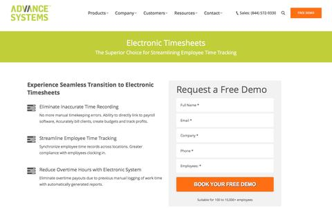 Electronic Timesheets | Timesheets Software | Advance Systems Inc