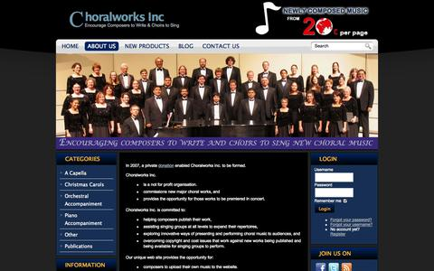 Screenshot of About Page choralworksinc.com - About Choralworks Inc - main - Choral Works Inc - captured Oct. 2, 2014