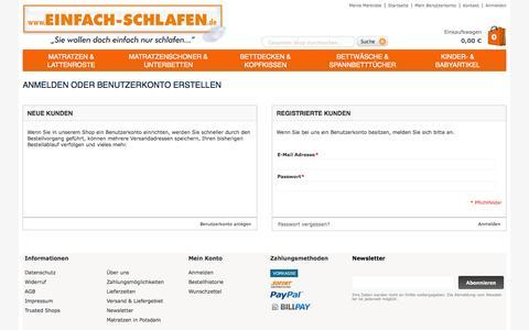 Screenshot of Login Page einfach-schlafen.de - Kundenlogin | einfach-schlafen.de - captured Nov. 4, 2014